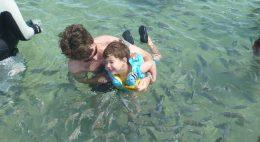 Praia com criança entrar na água depois de comer